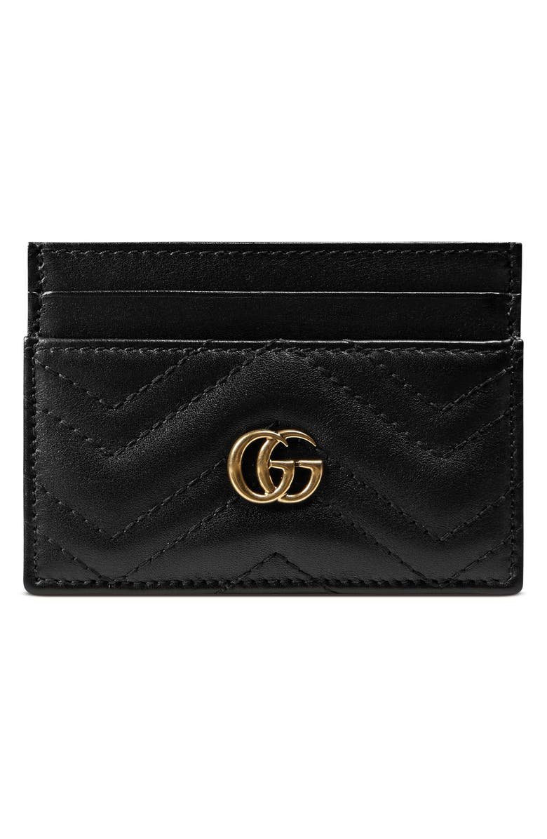 GUCCI GG Marmont Matelassé Leather Card Case, Main, color, NERO