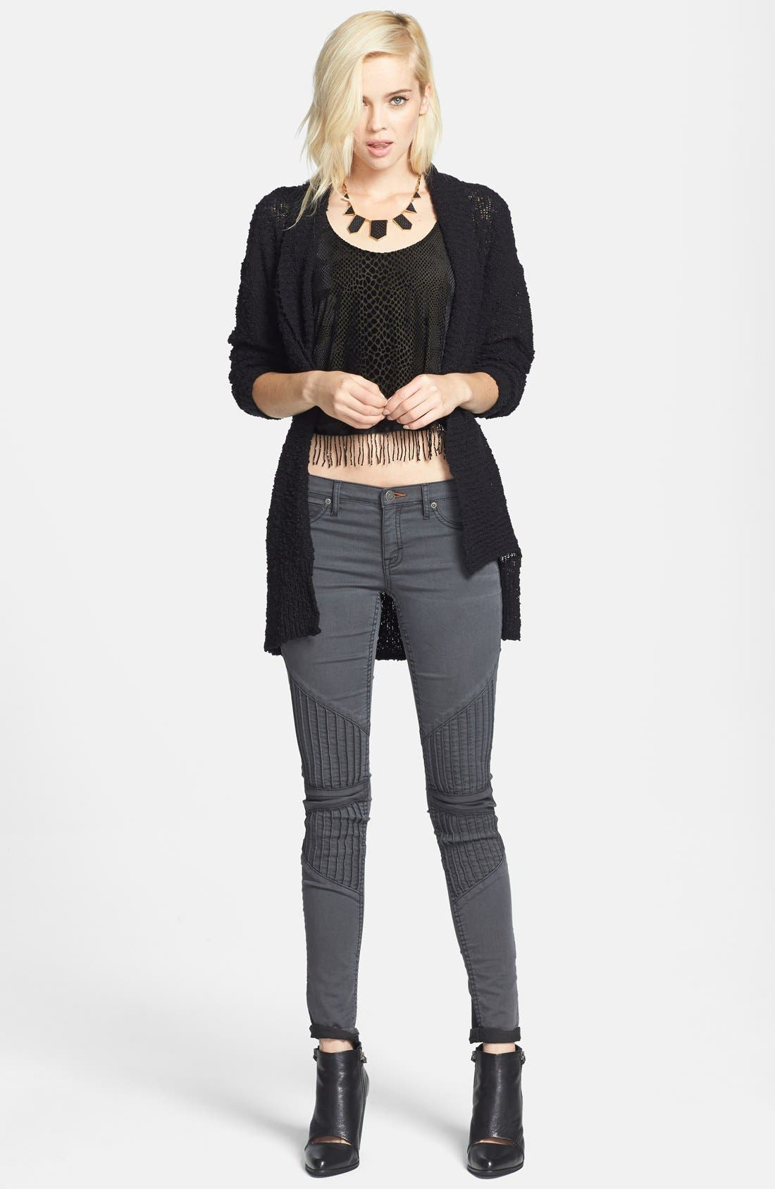 ,                             Textured Open Front Cardigan,                             Alternate thumbnail 3, color,                             001
