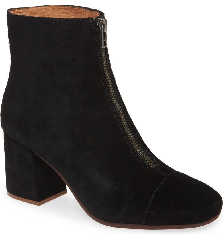 MADEWELL The Amalia Zip Suede Boot, Main, color, TRUE BLACK