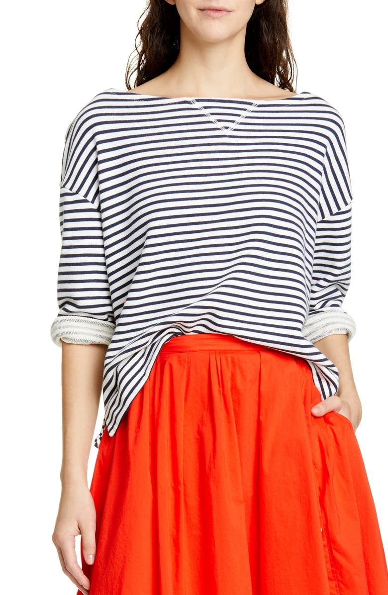 ALEX MILL Stripe Boatneck Fleece Top, Main, color, 464