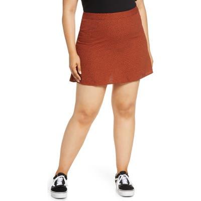 Plus Size Bp. Print Mini Skater Skirt, Brown