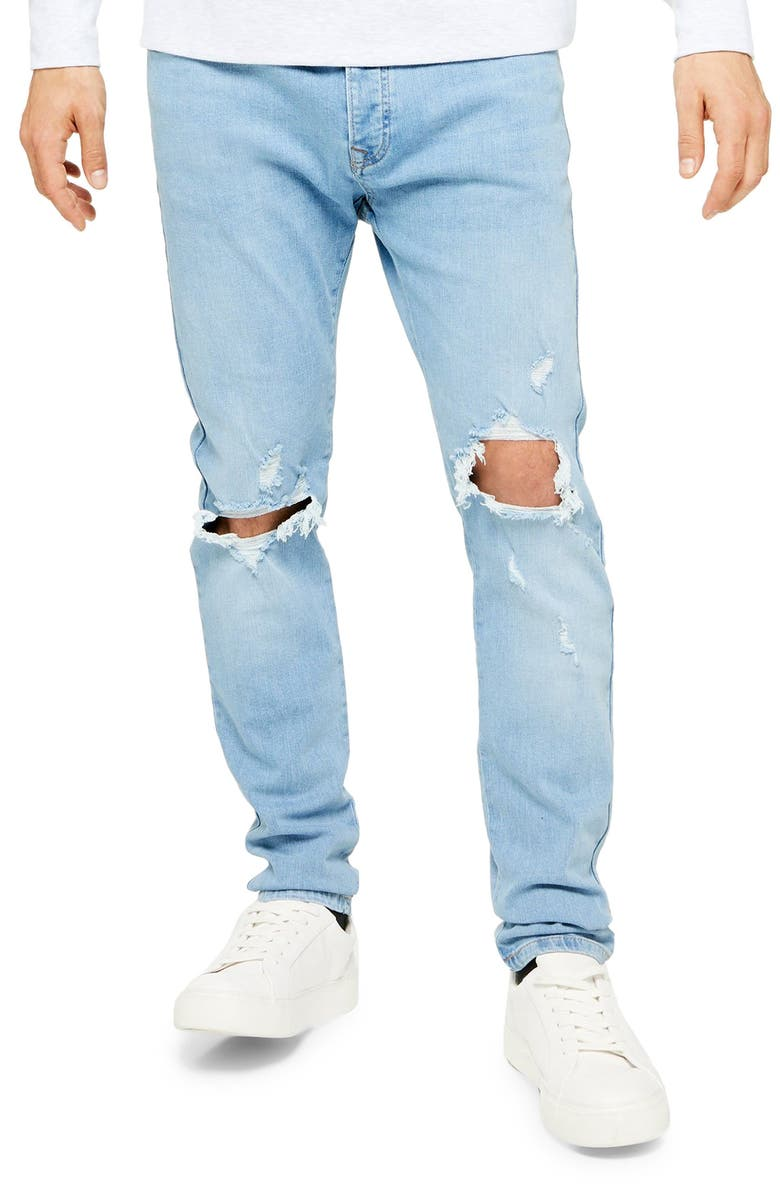 TOPMAN Ripped Stretch Skinny Fit Jeans, Main, color, BLUE