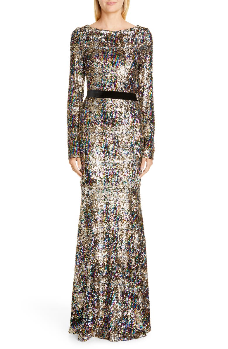 TALBOT RUNHOF Patina Sequin Plaid Long Sleeve Gown, Main, color, GOLD