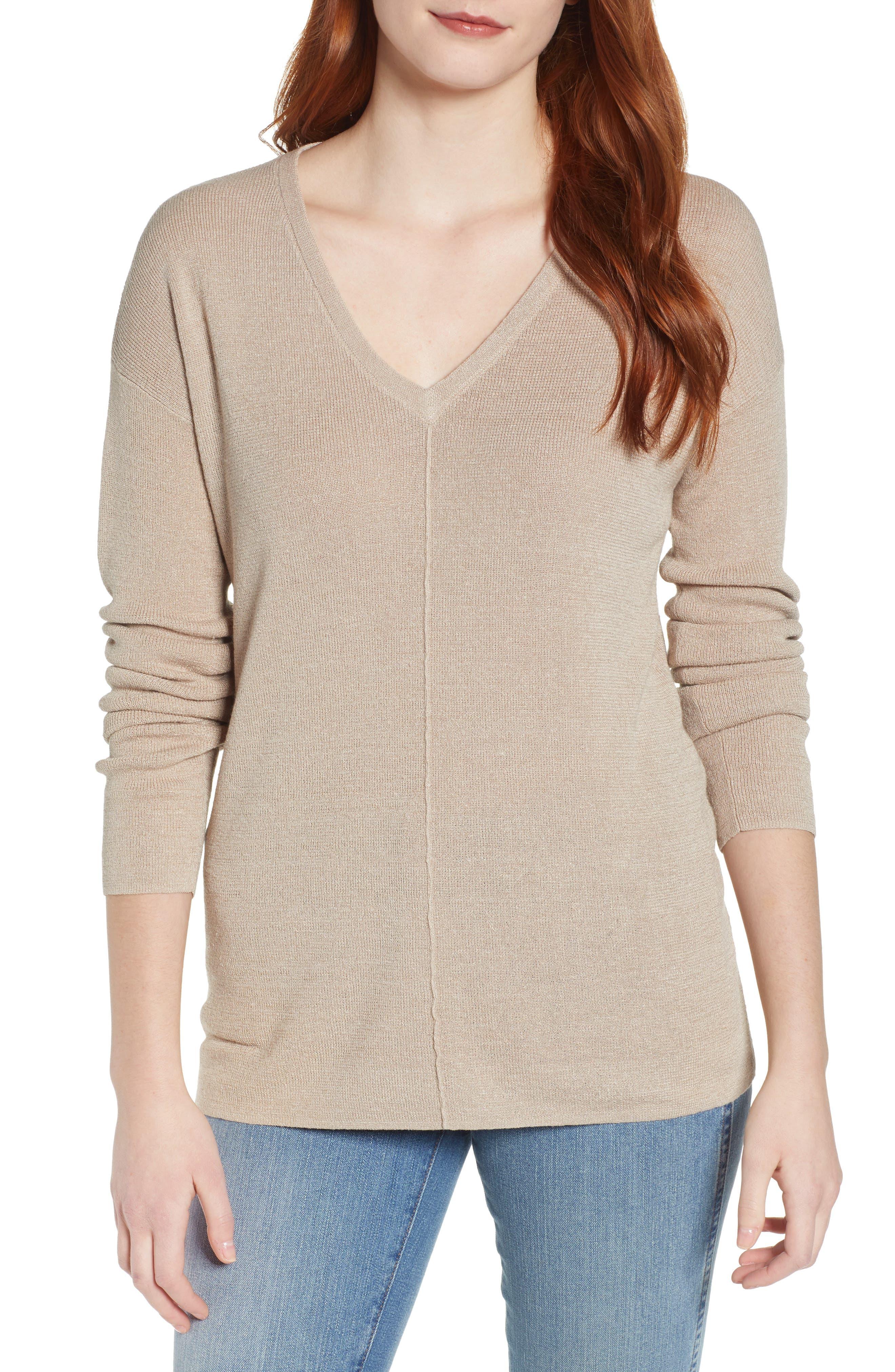 Caslon V-Neck Sweater, Brown