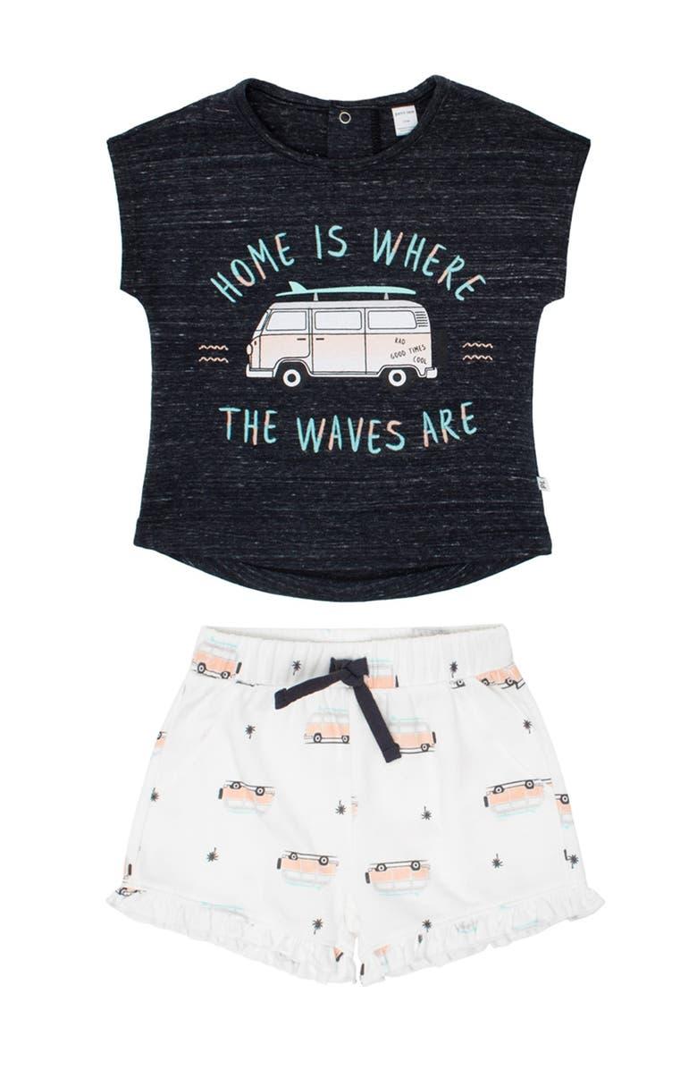 PETIT LEM Venice Beach T-Shirt & Shorts Set, Main, color, 902 DARK GREY