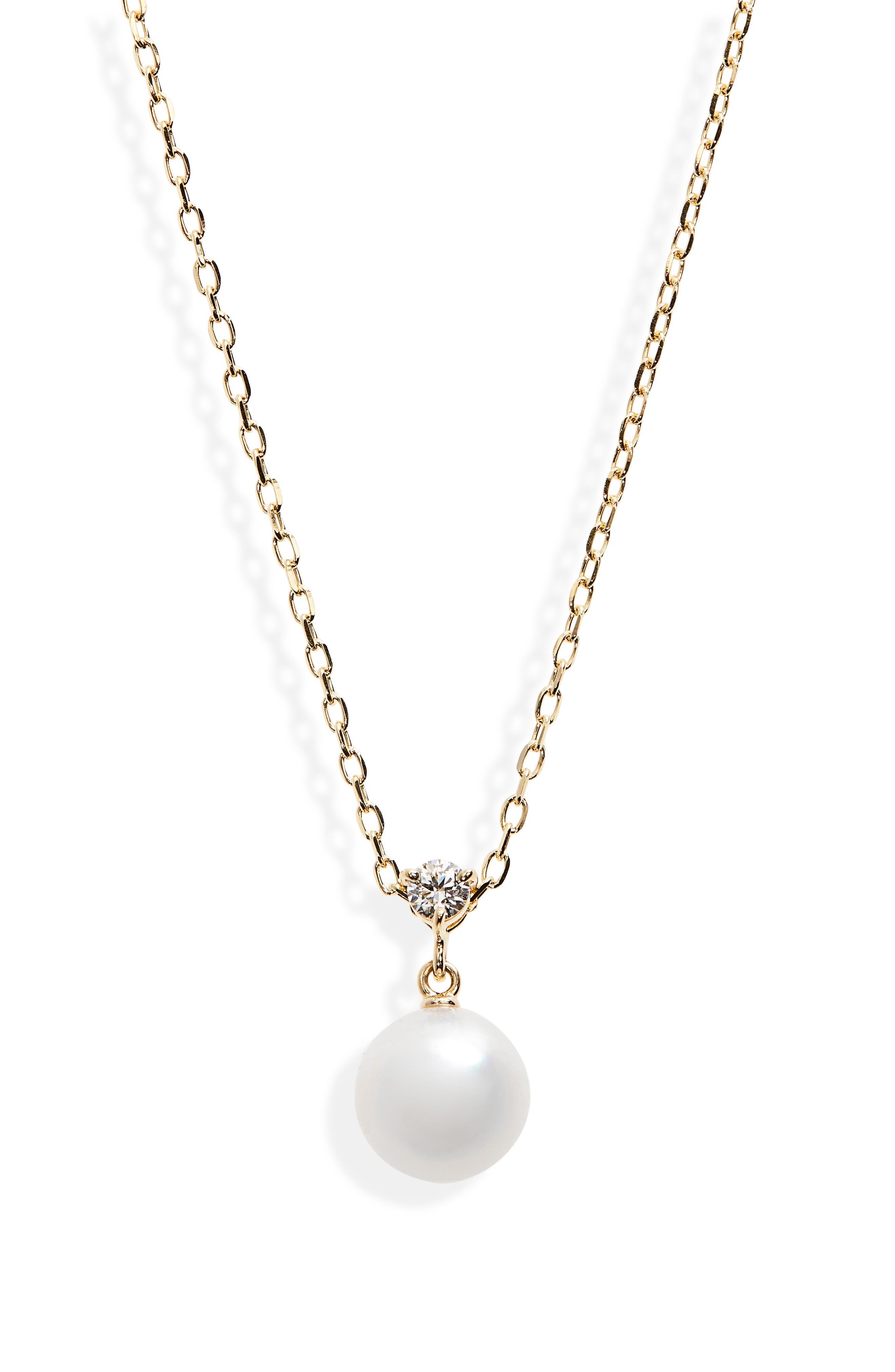 Classic Diamond & Akoya Pearl Pendant Necklace