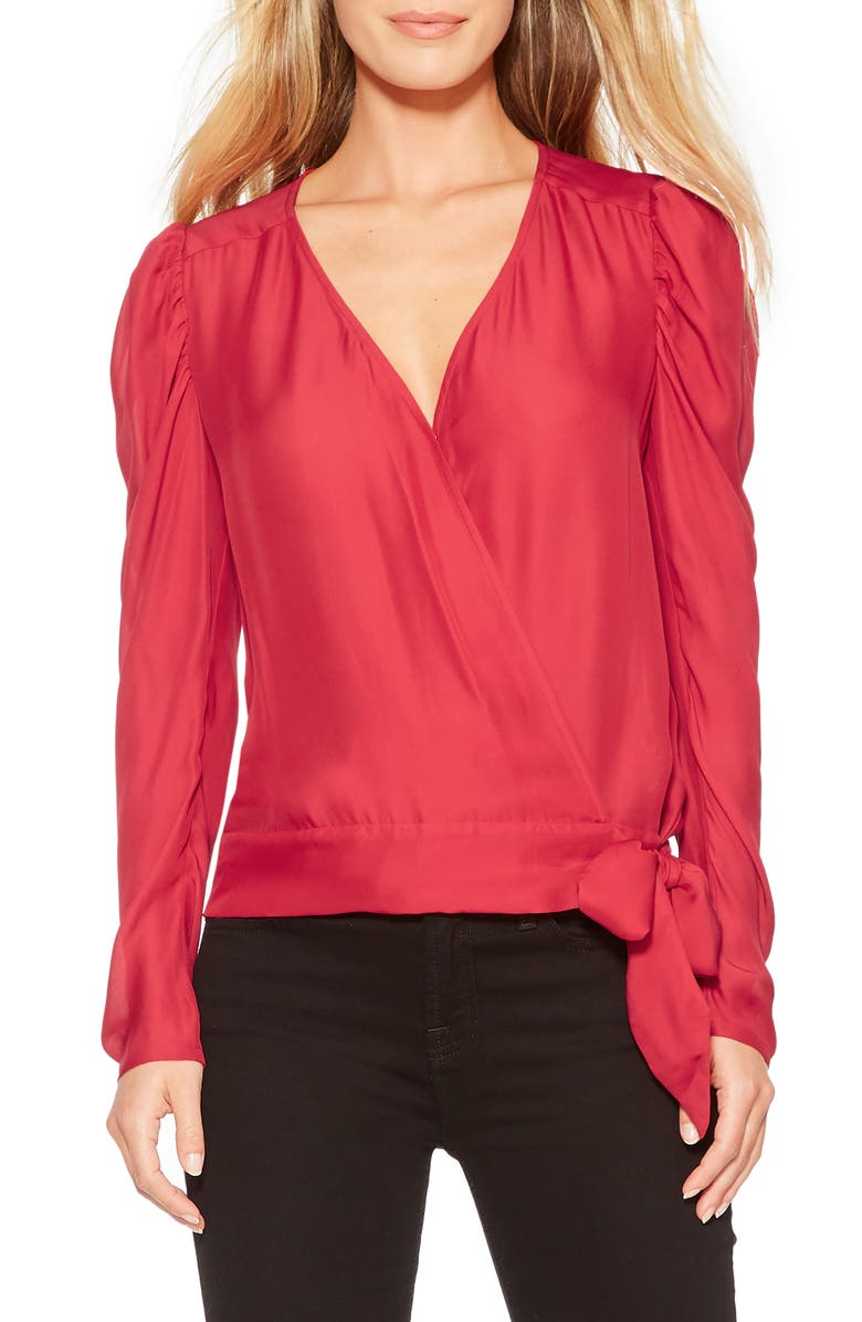 PARKER Arya Silk Blend Wrap Blouse, Main, color, RUBY