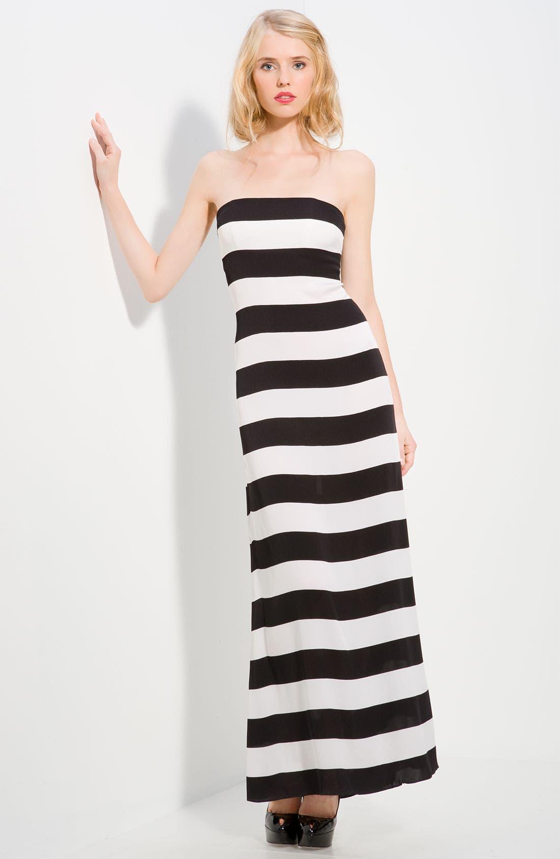 'Chandra' Stripe Strapless Maxi Dress, Main, color, 006