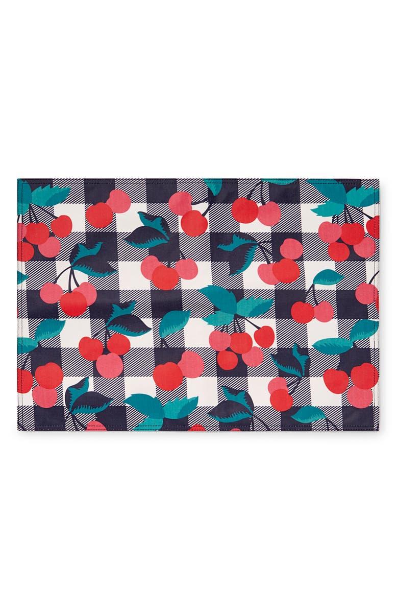 DRAPER JAMES Set of 4 Cherry Print Placemats, Main, color, 600