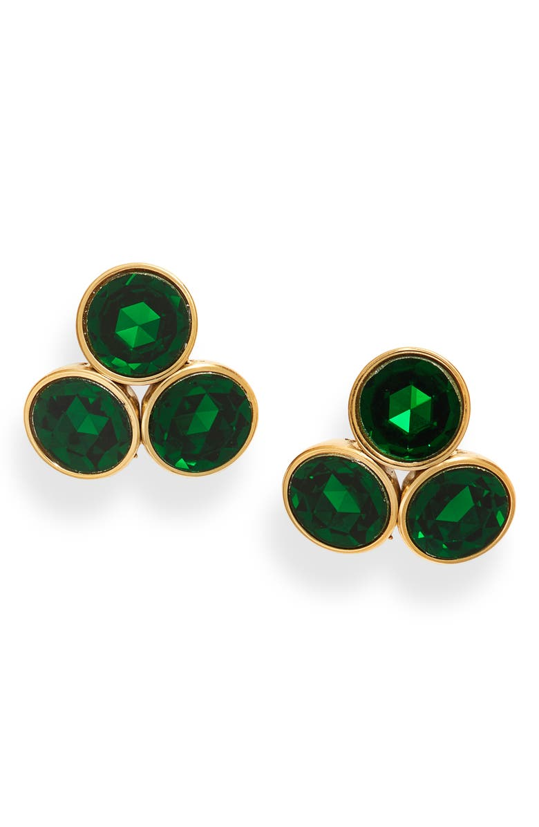 KATE SPADE NEW YORK reflecting pools cluster stud earrings, Main, color, EMERALD
