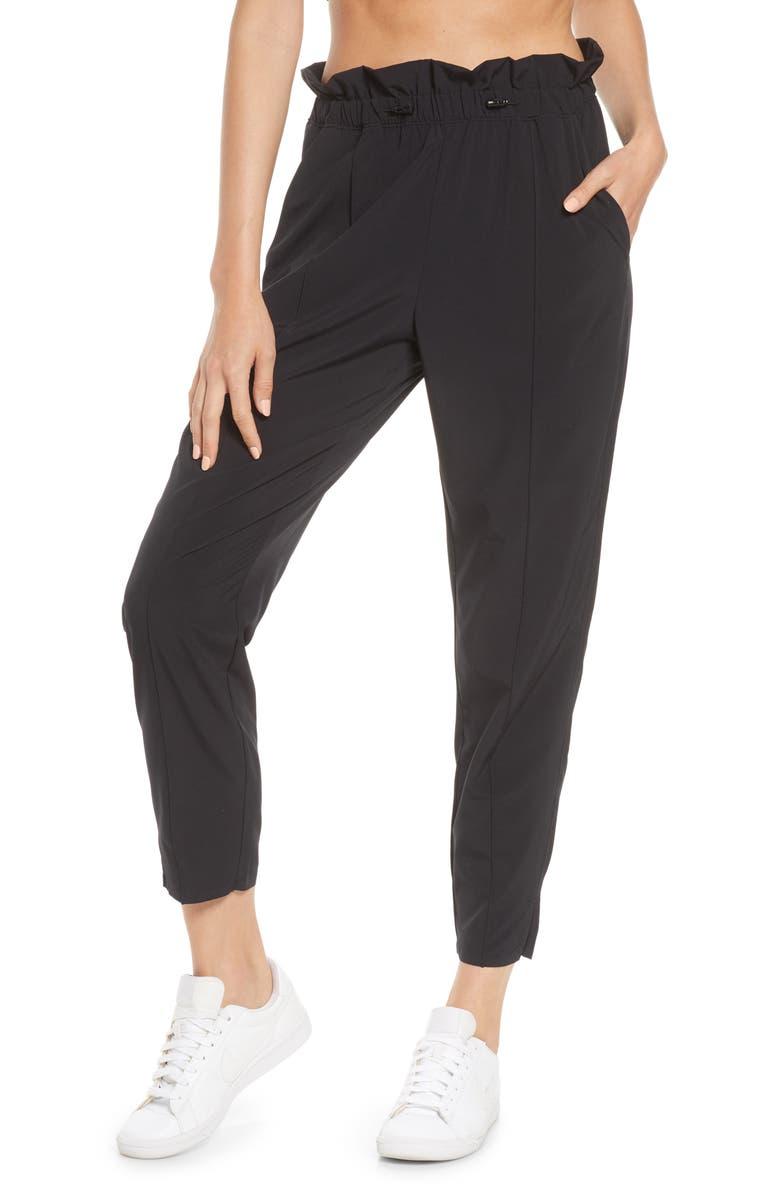 ZELLA Getaway Paperbag Ankle Pants, Main, color, BLACK