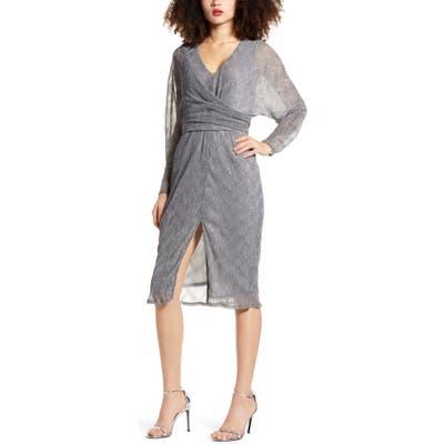 All In Favor Long Sleeve Plisse Faux Wrap Dress, Metallic