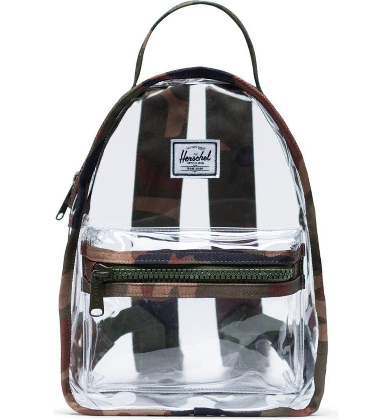 HERSCHEL SUPPLY CO. Mini Nova Clear Backpack, Main, color, WOODLAND CAMO/ CLEAR