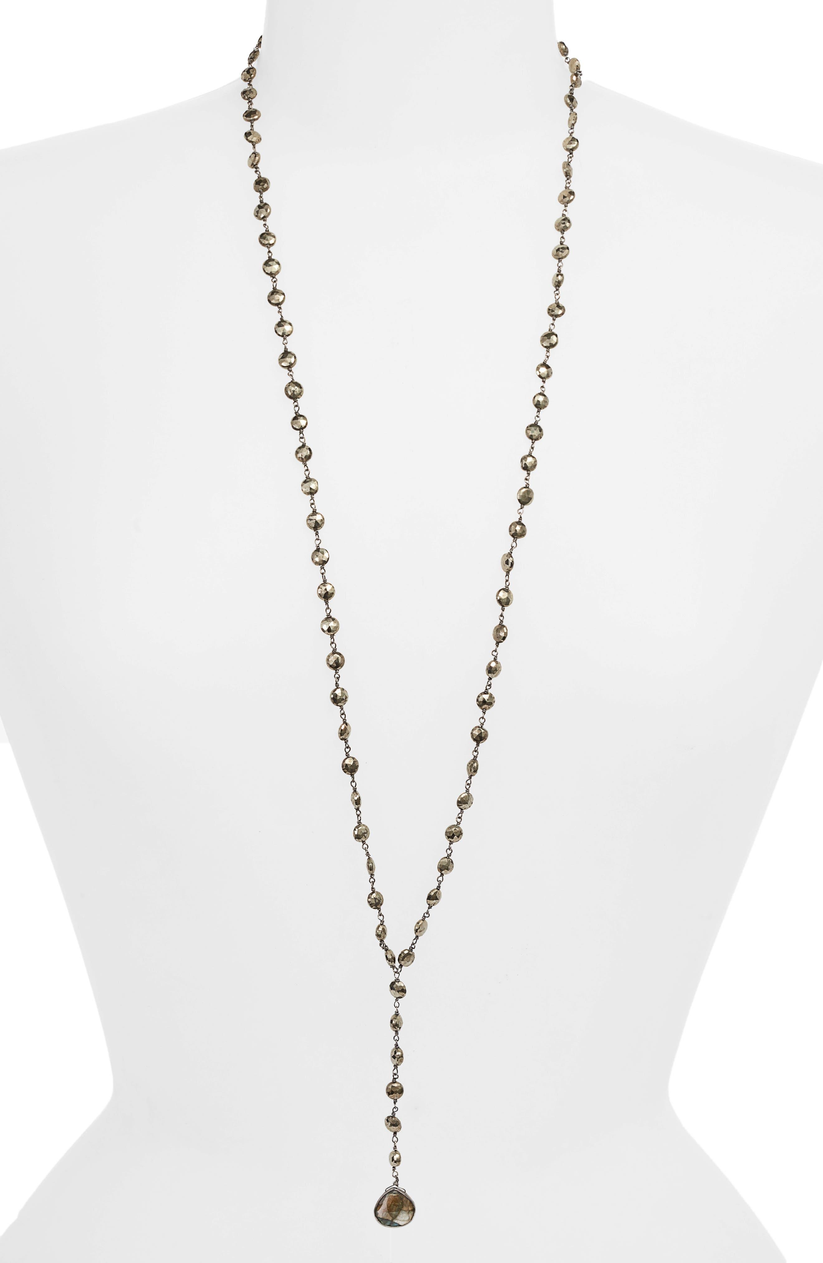 Yaeli Coin Long Semiprecious Stone Y-Necklace