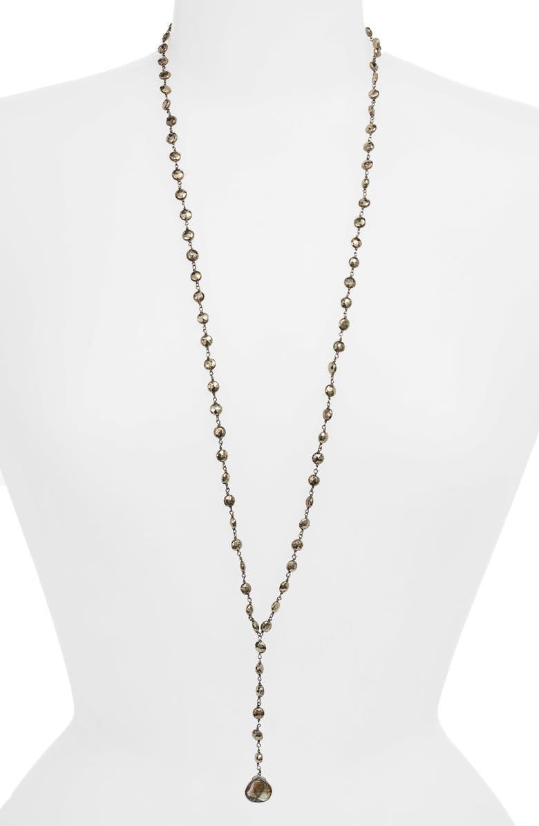 ELA RAE Yaeli Coin Long Semiprecious Stone Y-Necklace, Main, color, BLACK