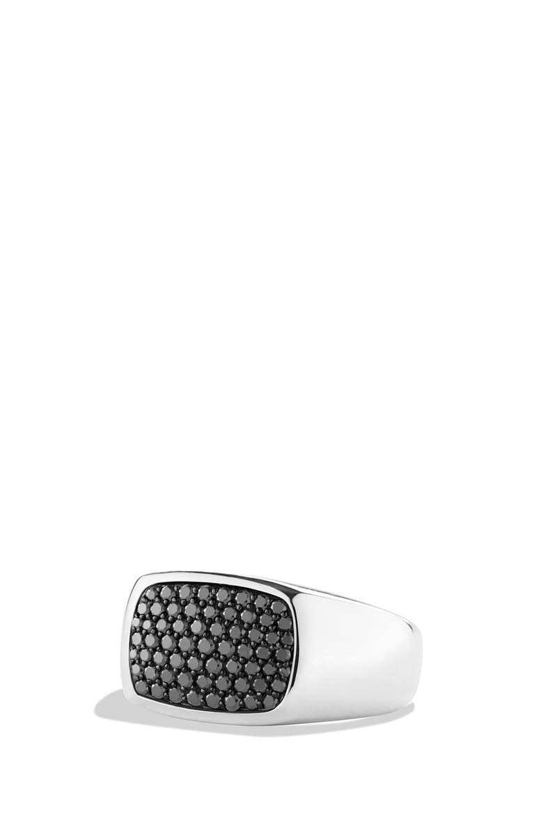 DAVID YURMAN 'Pavé' Signet Ring with Grey Sapphires, Main, color, BLACK DIAMOND