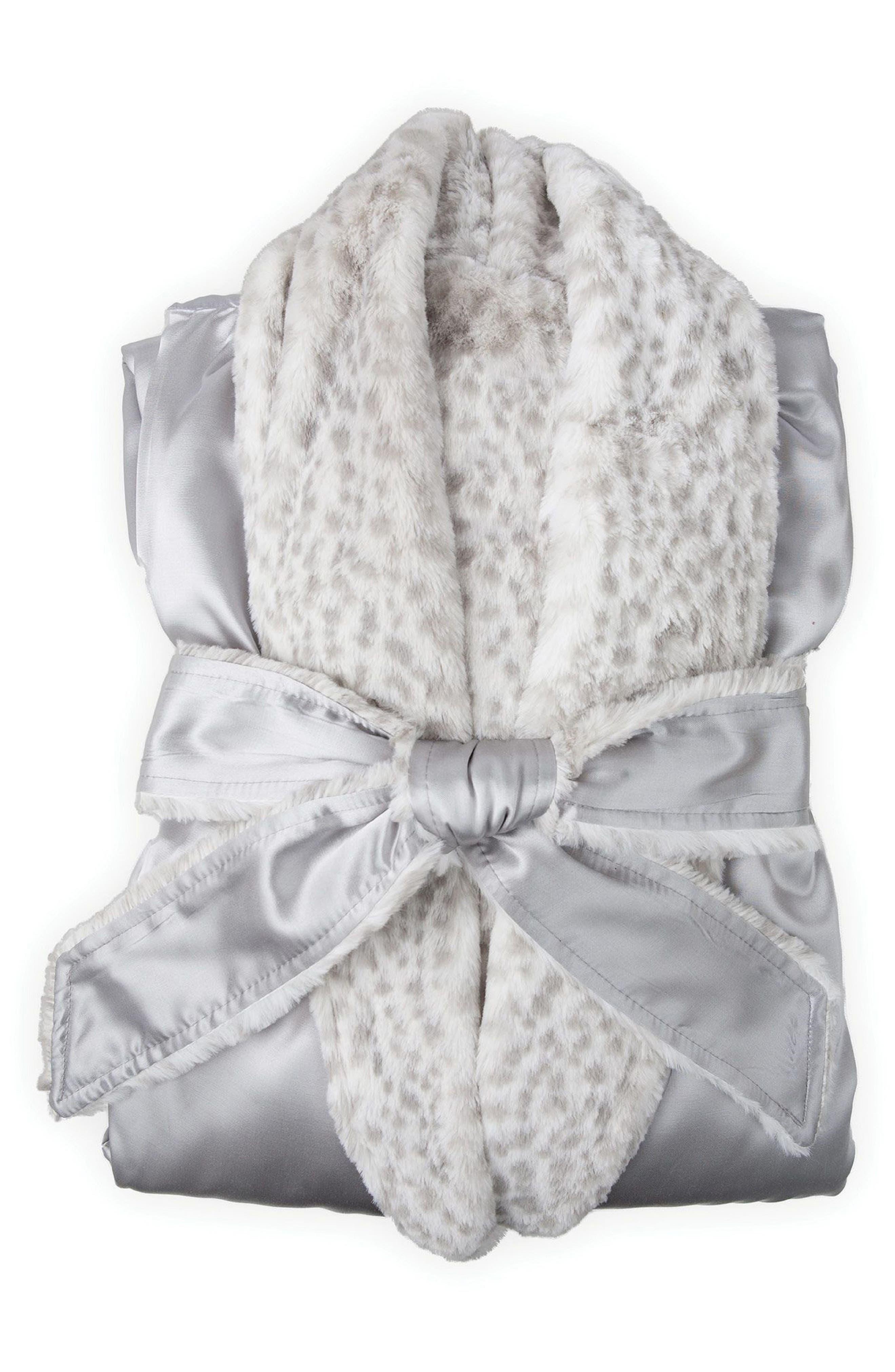 Luxe Leopard Faux Fur & Satin Robe