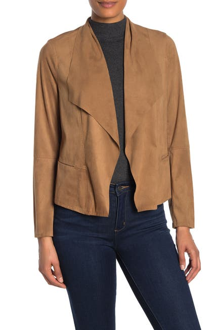 Image of Max Studio Faux Suede Open Front Jacket