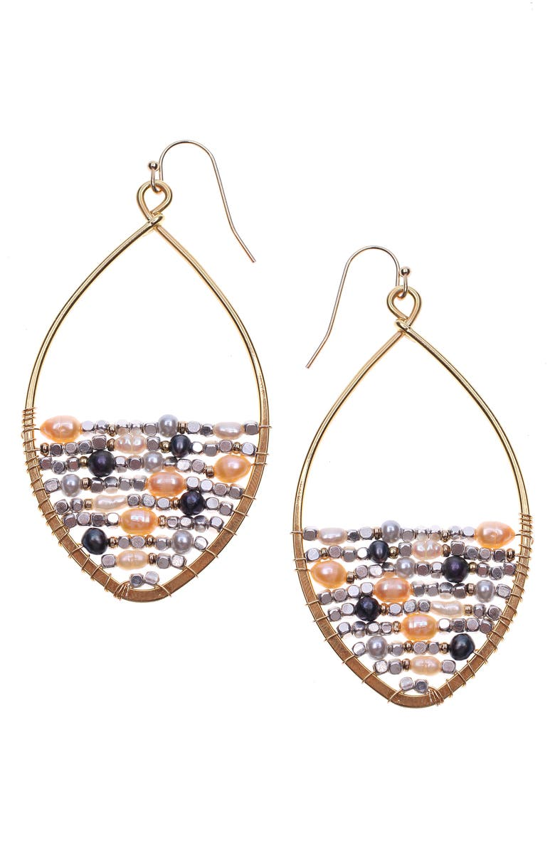 NAKAMOL DESIGN Cultured Pearl Earrings, Main, color, PINK/ GOLD