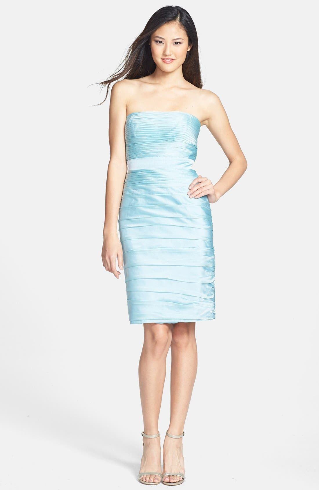 ,                             Ruched Strapless Cationic Chiffon Dress,                             Alternate thumbnail 40, color,                             306