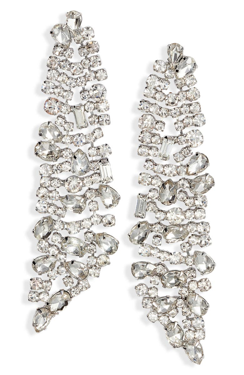 CRISTABELLE Crystal Cluster Linear Drop Earrings, Main, color, 040