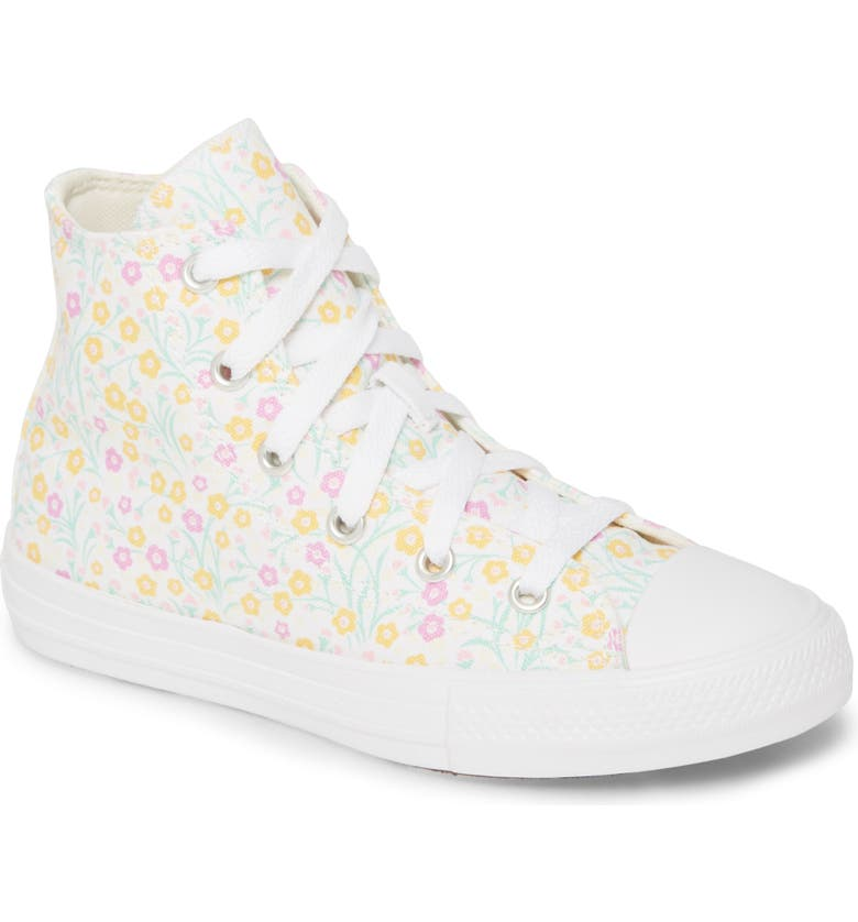 CONVERSE Chuck Taylor<sup>®</sup> All Star<sup>®</sup> Floral Print High Top Sneaker, Main, color, WHITE/ TOPAZ GOLD/ PEONY PINK