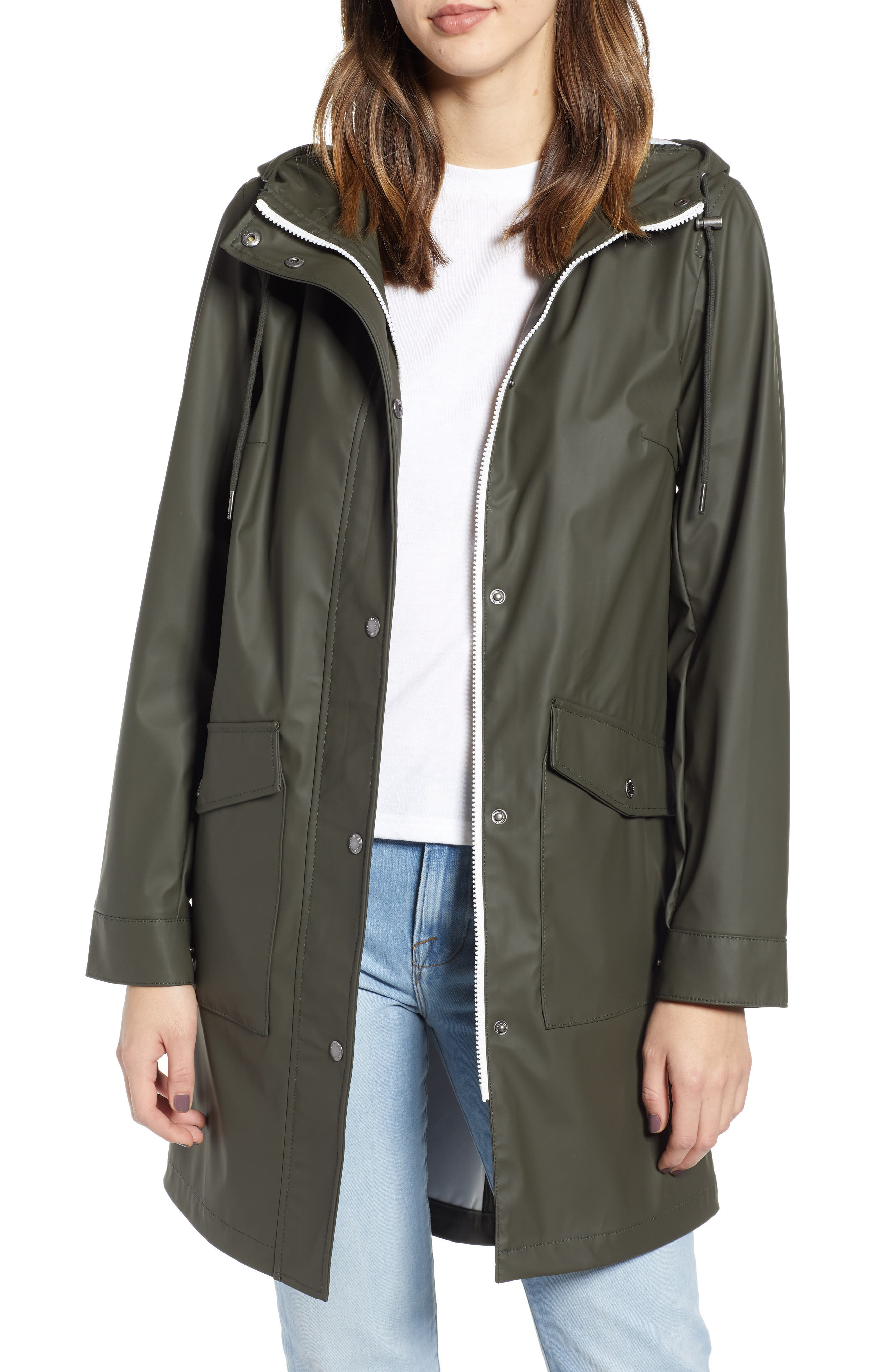 women's levi's water repellent lightweight hooded parka, size xx-large - green