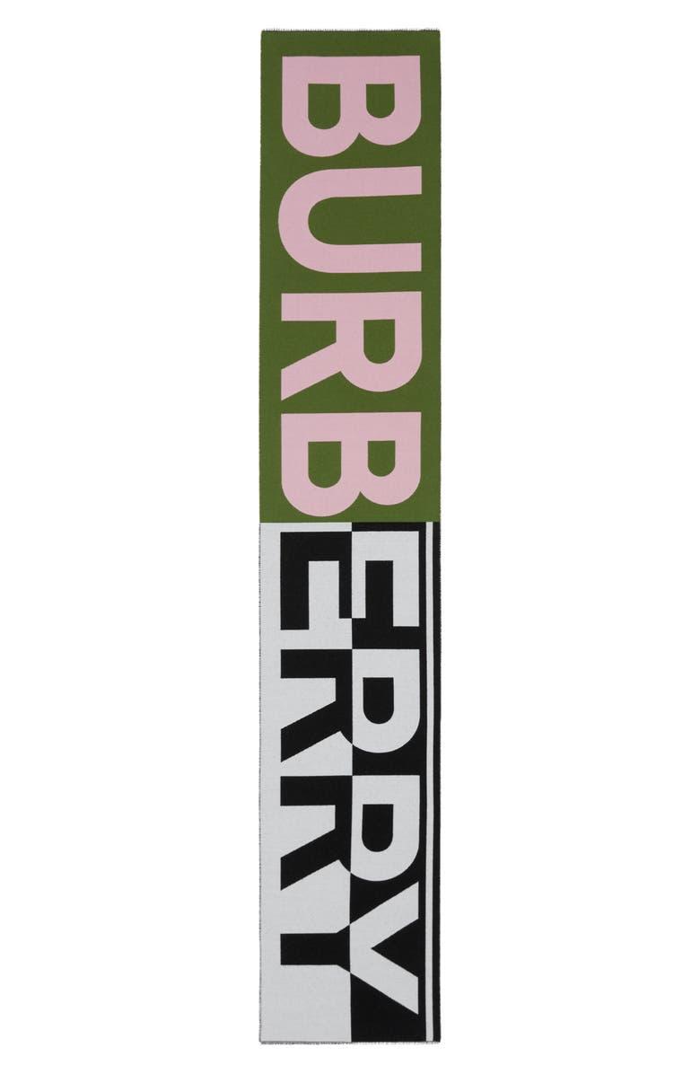BURBERRY Split Text Football Scarf, Main, color, CEDAR GREEN