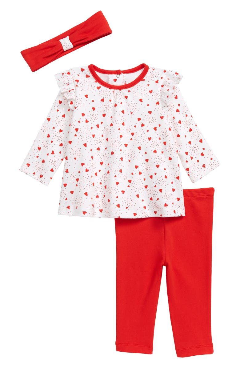 LITTLE ME Heart Toss Tunic, Leggings & Headband Set, Main, color, 600