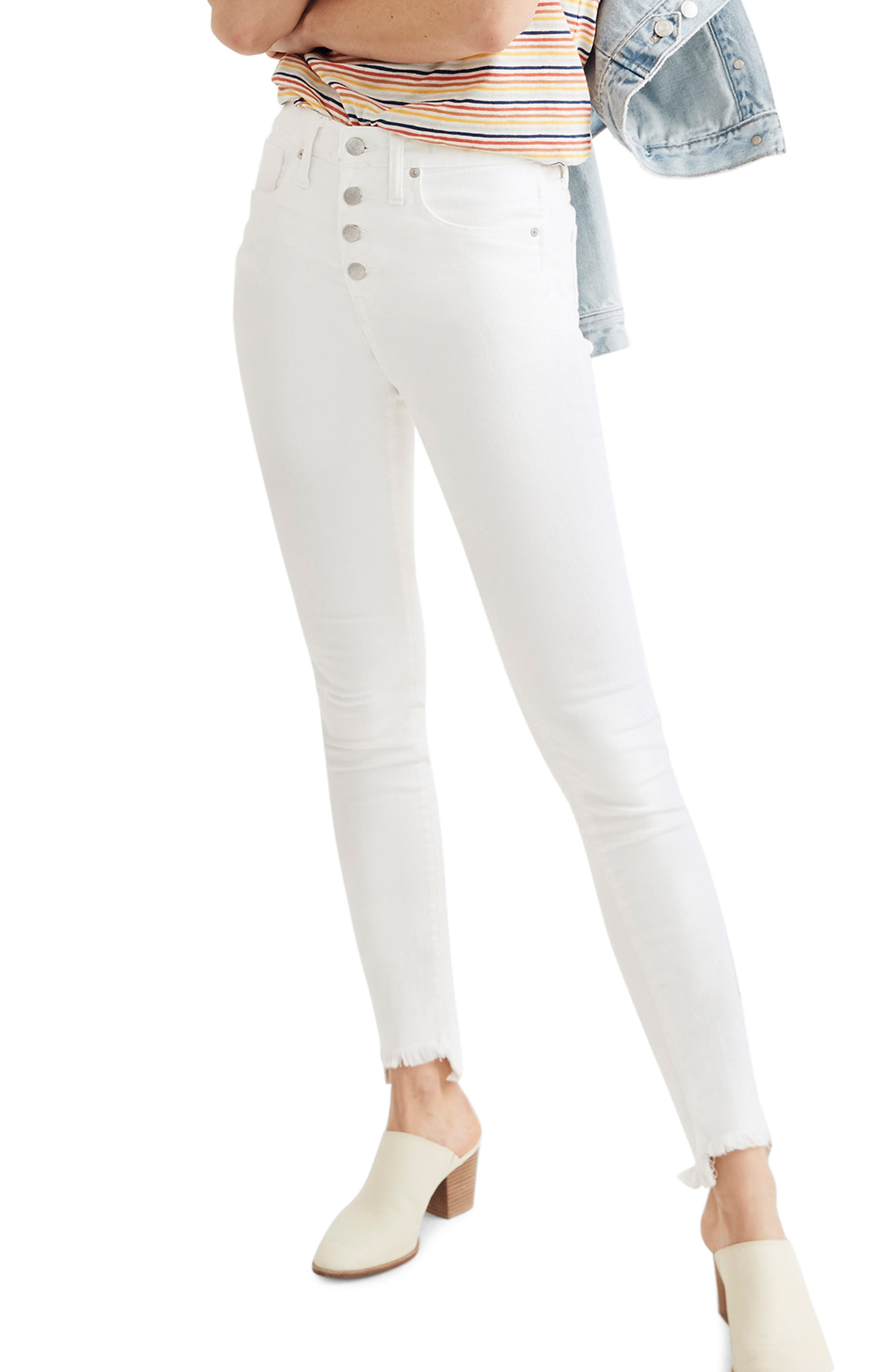 ,                             10-Inch High Waist Button Front Ankle Skinny Jeans,                             Main thumbnail 1, color,                             PURE WHITE