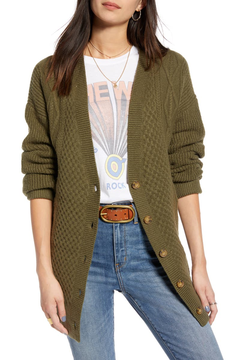TREASURE & BOND Cable Cardigan, Main, color, OLIVE SARMA