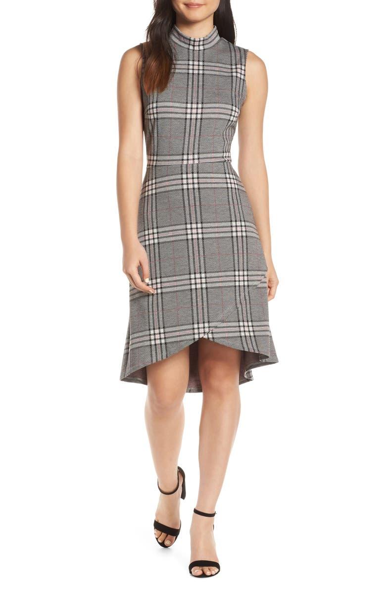 LEOTA Alyssa Stripe Dress, Main, color, CLASSIC PLAID GREY