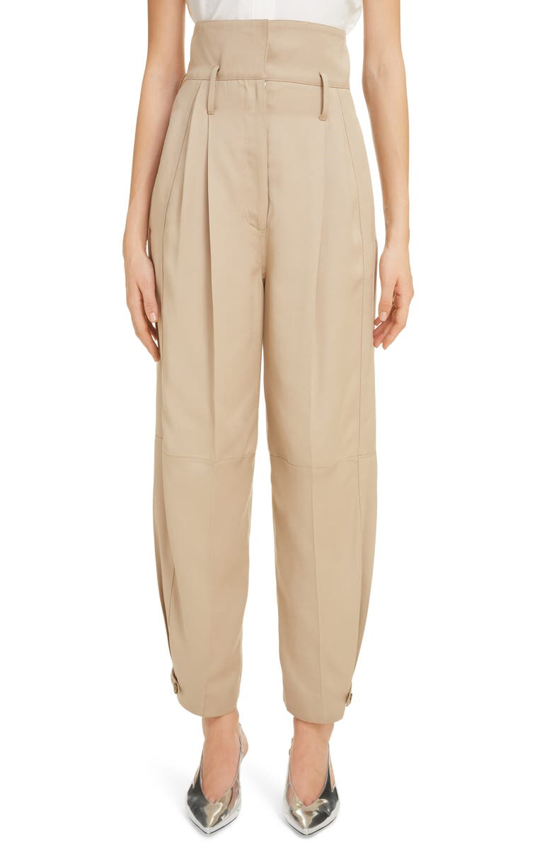 GIVENCHY Pleated High Waist Pants, Main, color, BEIGE