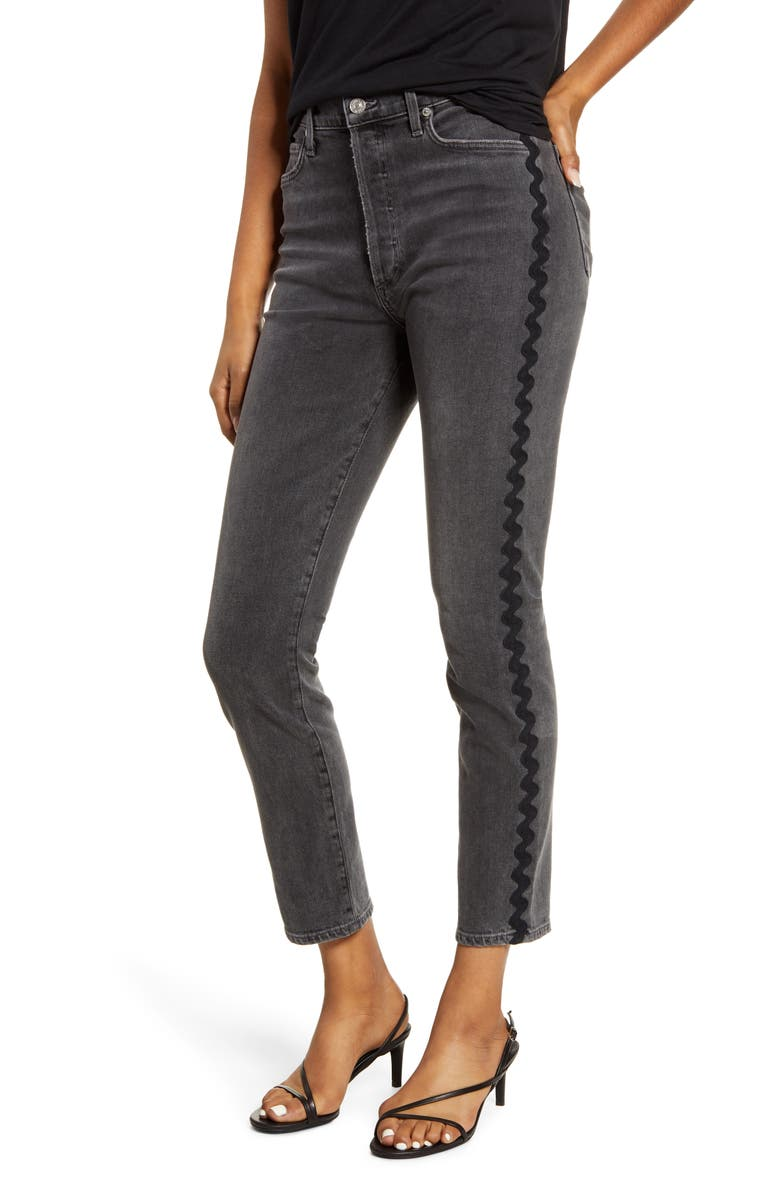 CITIZENS OF HUMANITY Olivia High Waist Wavy Side Stripe Slim Jeans, Main, color, DATE NIGHT BLACK WAVE