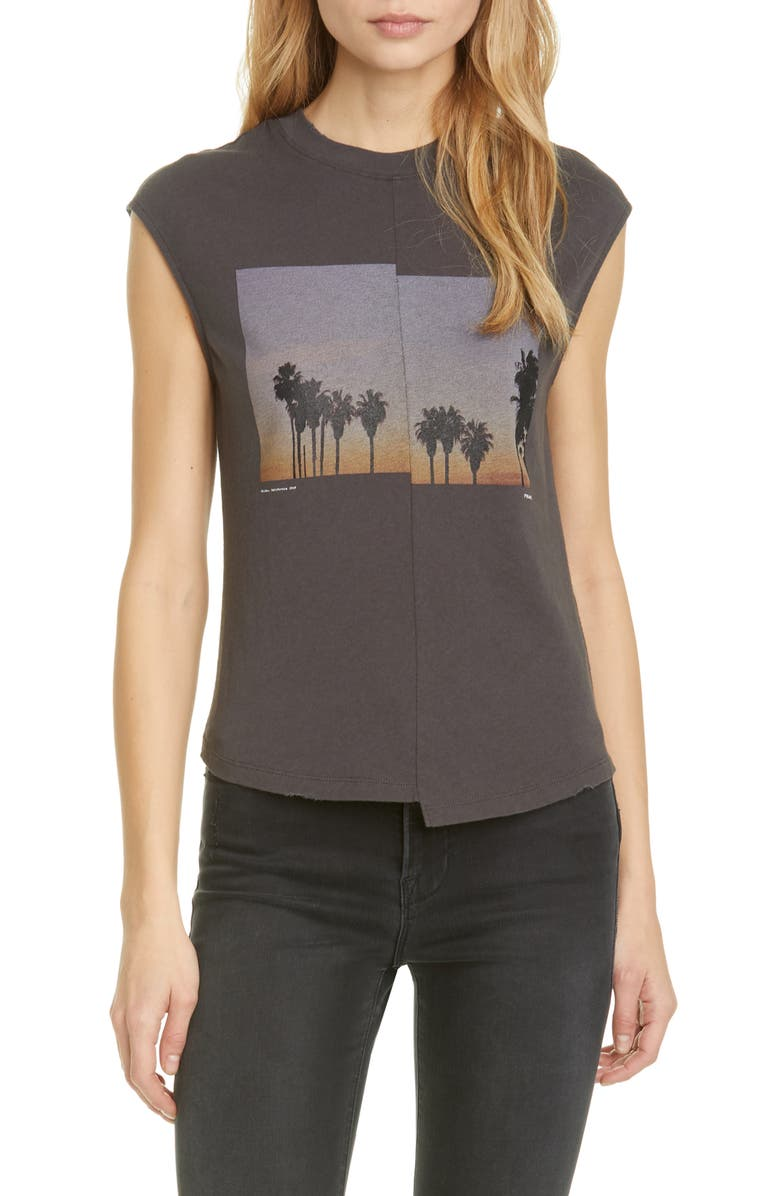FRAME Palm Graphic Cotton Muscle Tee, Main, color, 001
