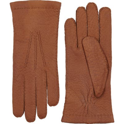 Hestra Peccary Leather Gloves, Size M (8) - Brown