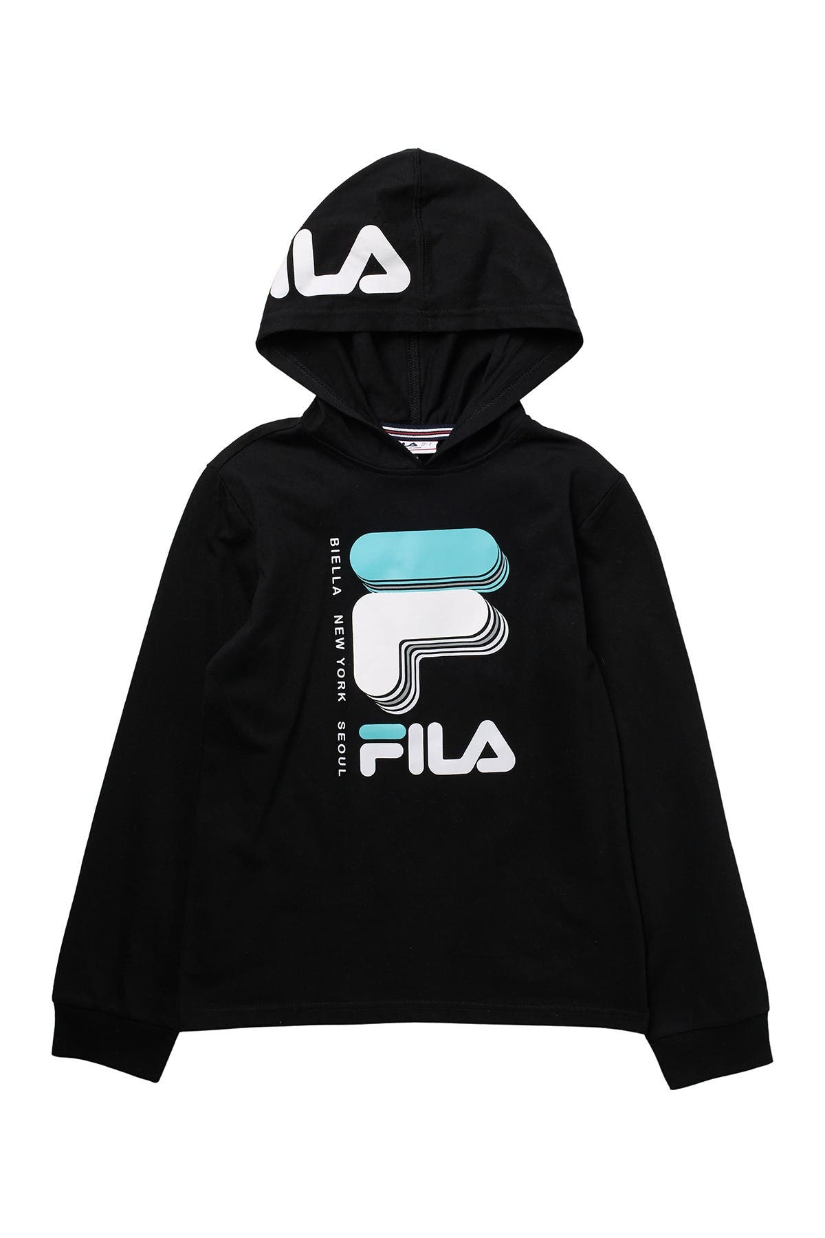 Image of FILA USA David Logo Long Sleeve Hoodie Tee