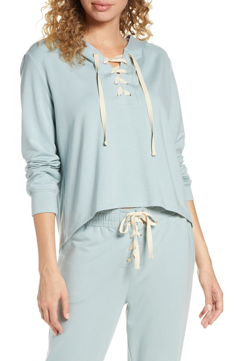 EBERJEY Mason Lace-Up High/Low Hoodie, Main, color, 020