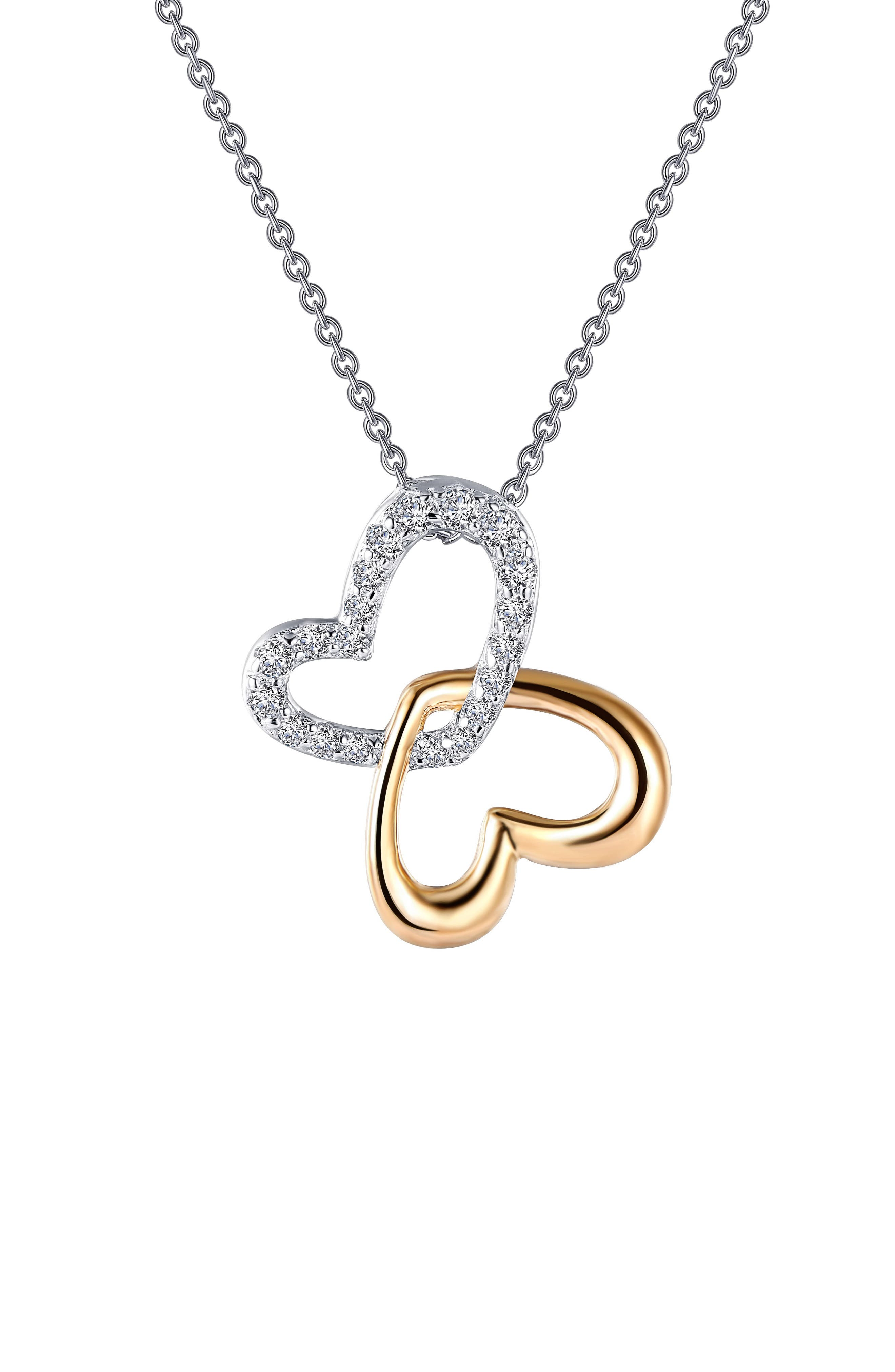 Two-Tone Hearts Pendant Necklace