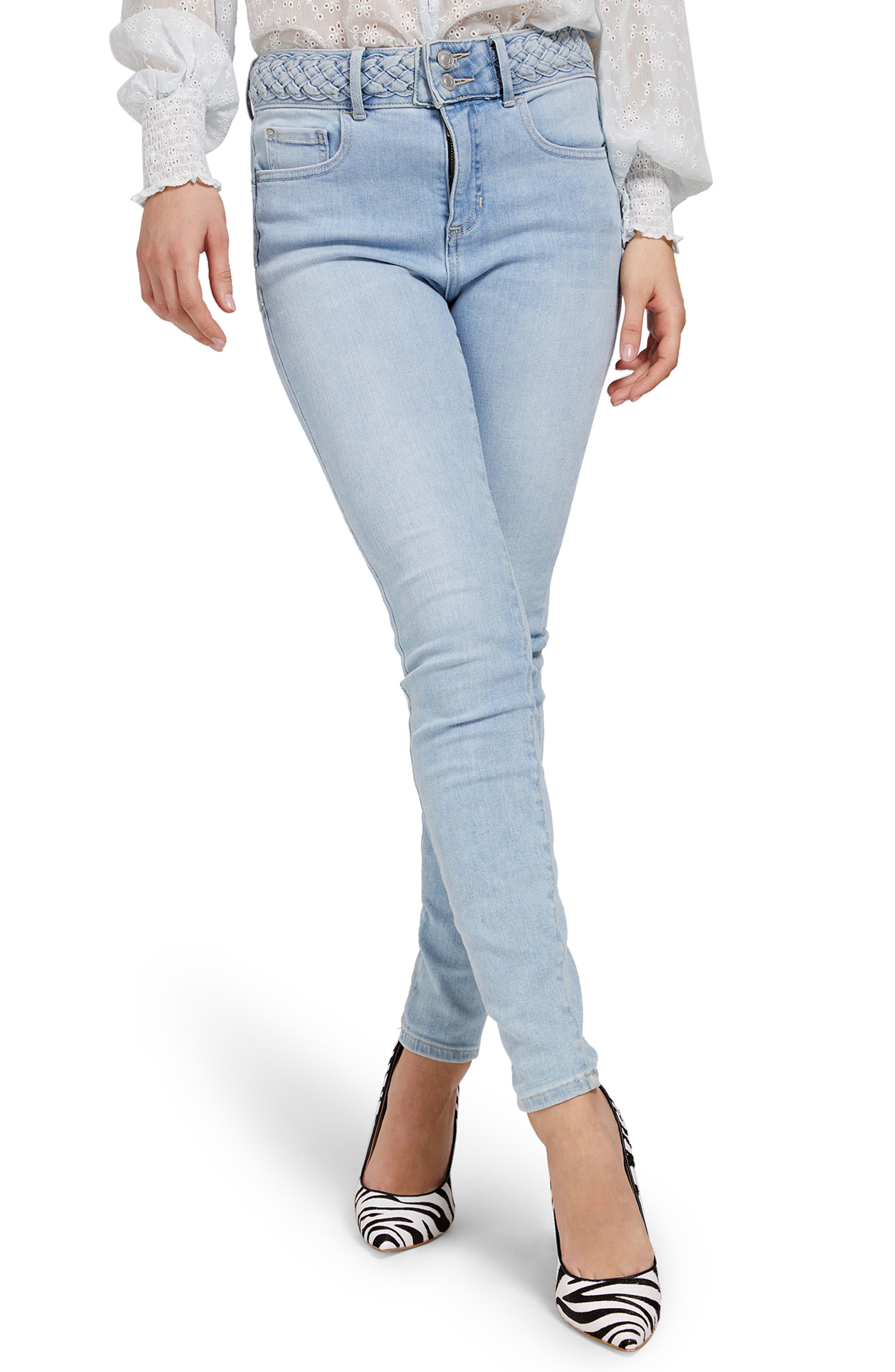 Shape Up Braided Waistband High Waist Skinny Jeans