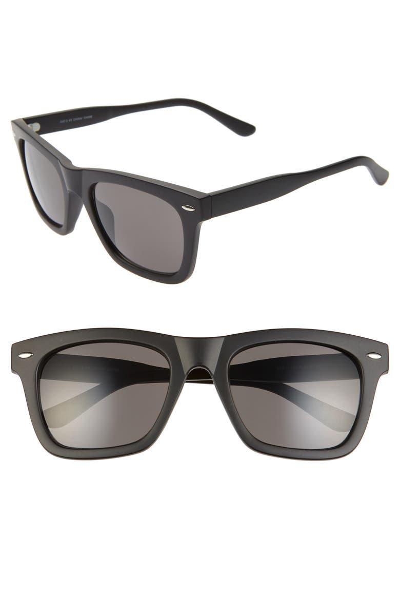 BP. Julian 55mm Square Sunglasses, Main, color, BLACK/ GREY