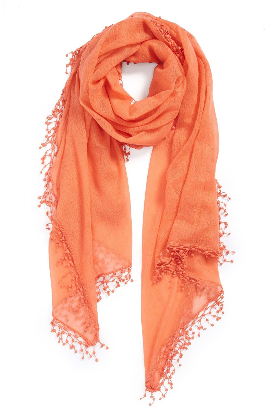 'Pompom' Cashmere Wrap, Main, color, 950