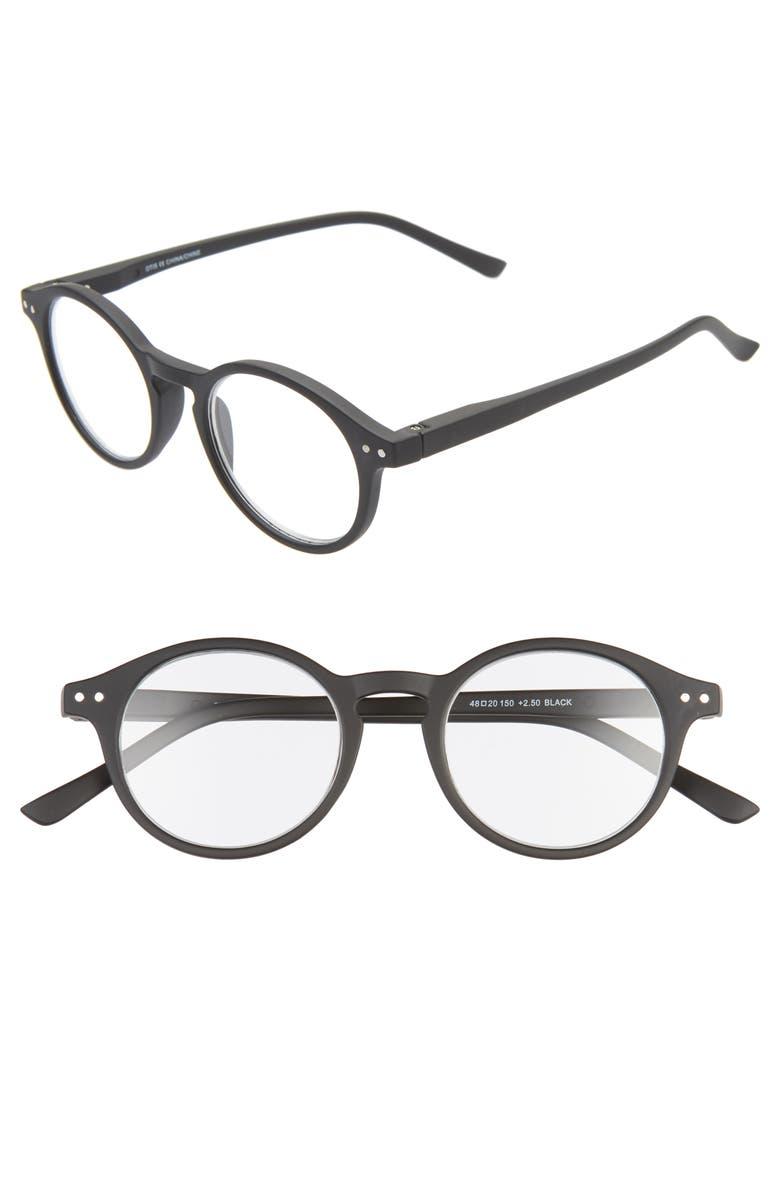 NORDSTROM MEN'S SHOP Otis 48mm Reading Glasses, Main, color, BLACK