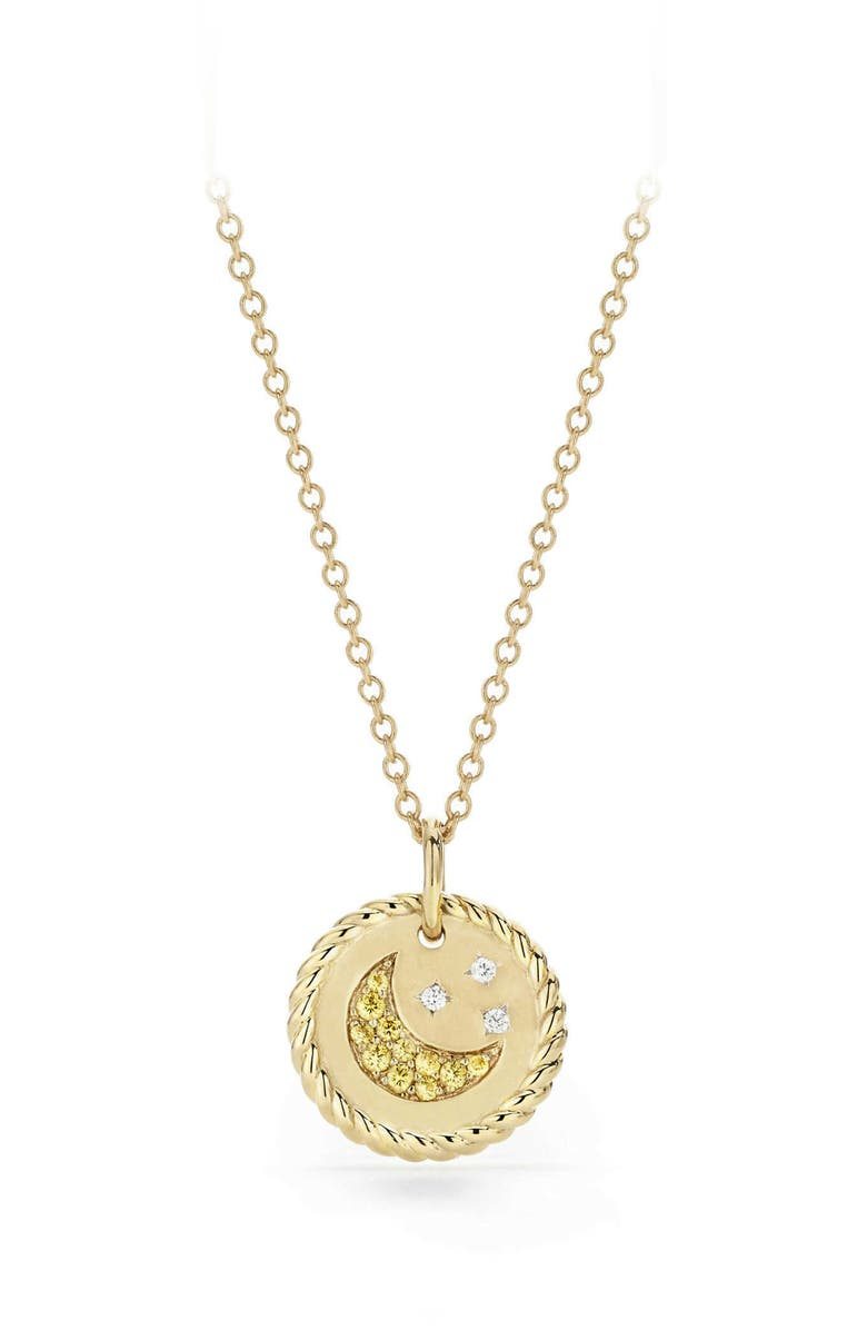 DAVID YURMAN Cable Collectibles Moon & Stars Necklace with Diamonds & Yellow Sapphires in 18K Gold, Main, color, GOLD/ DIAMOND/ YELLOW SAPPHIRE
