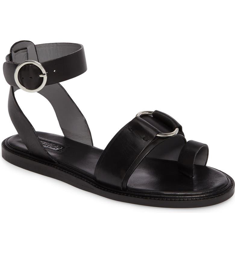 Topshop Fray Ringed Toe-Loop Sandal (Women)