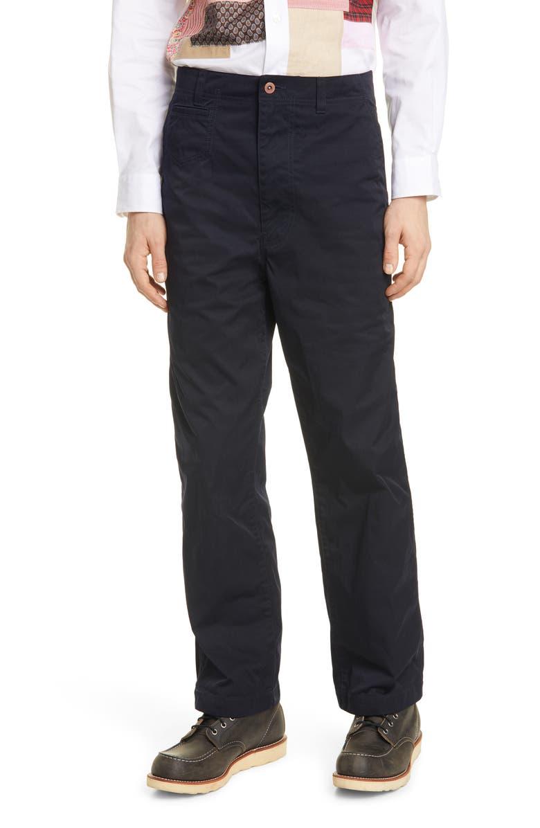 JUNYA WATANABE Garment Dyed Nylon Chino Pants, Main, color, NAVY
