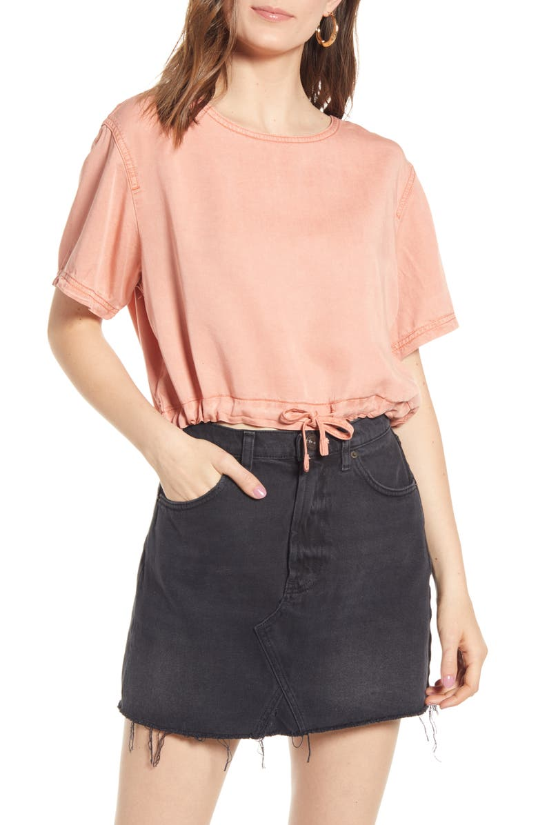 BDG Urban Outfitters Tie Hem Crop Top, Main, color, PEACH