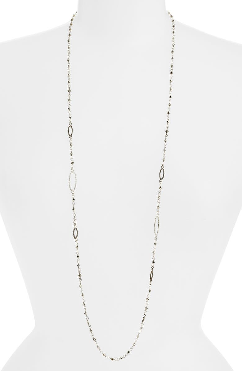 ARMENTA New World Long Station Necklace, Main, color, BLACKENED SILVER/ SILVER