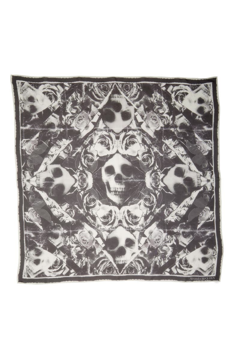ALEXANDER MCQUEEN Ripped Roses & Skull Square Silk Chiffon Scarf, Main, color, 1078 BLACK/ IVORY