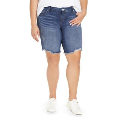 Plus Size Slink Jeans Frayed Hem Denim Bermuda Shorts, Blue
